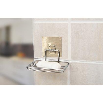 無痕貼肥皂架 魔力無痕貼不鏽鋼肥皂架 防水無痕掛勾置物架 不鏽鋼香皂架~單層