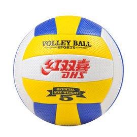 紅雙喜充氣軟式排球5號充氣 中考大學用球超軟 送八  512黃白藍 送八