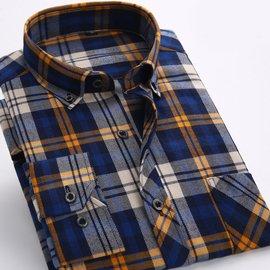 格子襯衫男長袖 磨毛大碼男士襯衫爸爸裝男裝加厚襯衣中年