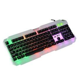彩虹背光鍵盤 游戲家用商務辦公筆記本臺式電腦 有線USB防水發光