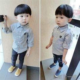 2016秋裝 男童女童條紋襯衫寶寶純棉長袖襯衣嬰兒衣服上衣
