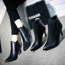 短靴 女單靴尖頭細跟英倫風高跟鞋 馬丁靴裸靴子 馬丁靴