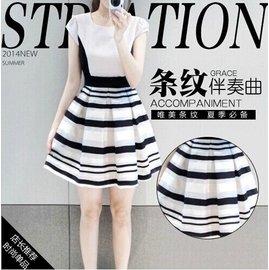 2016夏裝 拉夏貝爾雪紡正品歐根紗條紋拼接ccdd連衣裙女裝