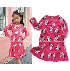 ~達搭ㄅㄨˊ寶貝屋~D71490 小企鵝棉質長袖洋裝 連衣裙 家居裙 長袖 休閒 連身裙
