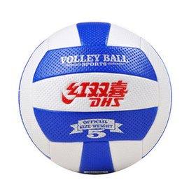 紅雙喜充氣軟式排球5號充氣 中考大學用球超軟 送八  512白藍條 送八
