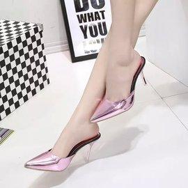涼拖鞋性感細跟包頭高跟涼鞋尖頭水晶拖鞋半拖式: 包頭
