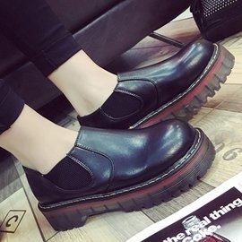 短靴 復古圓頭套腳粗跟短靴馬丁靴