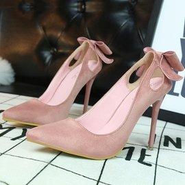 ~販賣美好~3168~1 甜美女高跟鞋細跟顯瘦高跟絨面淺口尖頭鏤空蝴蝶結單鞋^(299元^