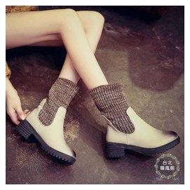 中筒靴 ~ 毛線彈力靴高跟馬丁靴粗跟中筒靴擦色女鞋潮~台北韓風館~