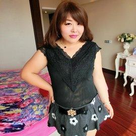糖糖大碼女裝尚癮韓2016秋裝女裝胖mm 網紗蕾絲弔帶背心7569