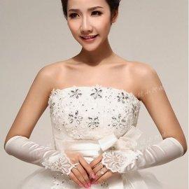 ~166號小阿姨~露指米色白色紅色黑色 長款蕾絲新娘手套 結婚露指釘珠婚紗手套 禮服手套