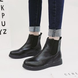 ギケグ n2016 平底女短靴 平跟尖頭馬丁靴松緊帶短筒女靴及裸靴