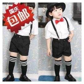 中性兒童合唱服演出服男女少兒小主持人禮服套裝 背帶弔帶褲