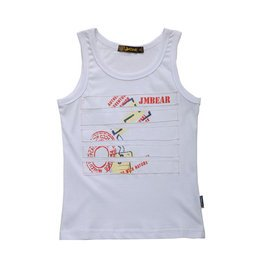 男童2014夏裝套裝中大童兒純棉無袖T恤背心傑米熊 夏裝