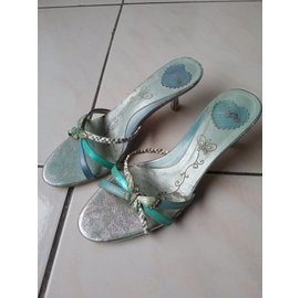 2480~LIDO專櫃水藍色低跟鞋23號  36號 6號 拖鞋 低跟涼鞋 專櫃涼鞋 DIA