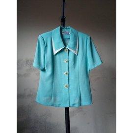 藍色專櫃套裝 上衣 褲裙  復古 古著 短袖襯衫 雪紡襯衫 短褲 短裙 小外套   水藍色