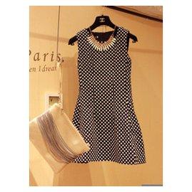 韓國復古森女繫黑色波點修身顯瘦高腰蓬蓬裙無袖裙連衣裙女裙秋裝