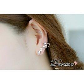 耳環  韓國 氣質甜美星星連線珍珠水鑽耳環 耳夾^(2色^)K90336單個價 Danic