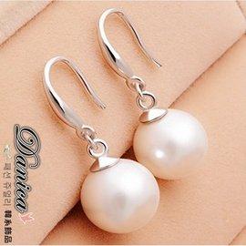 耳環 氣質甜美氣質百搭珍珠8MM吊飾925銀針耳環K90449 價 Danica 韓系飾品