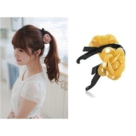首爾小姐︱韓國 ~  ~.復古女孩 圓點山茶花朵 馬尾髮夾香蕉夾相交夾