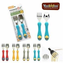 yookidoo愛動物園安全兒童不�袗�湯叉套裝 寶寶學習訓練筷餐具不鏽鋼湯叉組 學習餐具