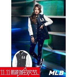 MLB棒球服女中長款棒球外套皮袖棒球衫冬款棉服外套女風衣潮