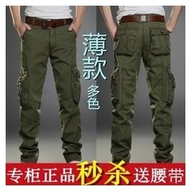 多口袋男士 褲工裝褲男長褲戶外男褲寬松迷彩褲軍褲登山褲