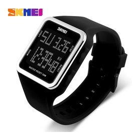 時刻美大數字同屏顯示電子表 秒表計時男女防水手表鬧鐘考試手表