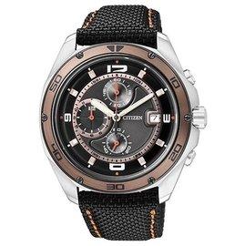 CITIZEN日本星辰OXY 終極遠征計時帆布腕錶-黑古銅41m