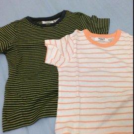 法國 la redoute 條紋棉T 綠色102cm 橘 94cm 一件150