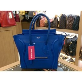 CELINE LUGGAGE MICRO 閃電藍中型手提包微笑包笑臉包囧包 XB5131