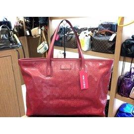 GUCCI 粉紅色 膠面 PVC 袋 肩背包 211120 213048 大 XB3176