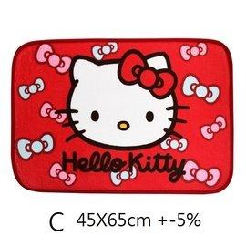 愛蜜絲凱蒂貓Hello Kitty蝴蝶結絨毛地墊~D室內腳踏墊短版地墊門口地墊 臥房地墊廚