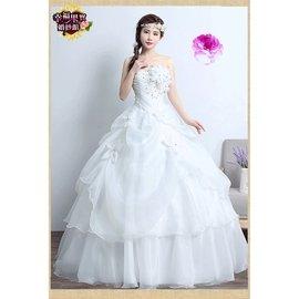 ~有大碼!可訂做~57061529727新娘結婚抹胸齊地韓式簡約修身顯瘦婚紗禮服 500元