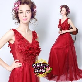 ~ 有大碼可訂作~538226231377酒紅色蕾絲花朵性感透視新娘結婚敬酒服長款婚禮婚紗