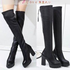 膝上靴 刷毛保暖 防水臺高跟靴 過膝長靴 Y1266