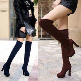 膝上靴  防水臺超高跟 刷毛保暖 彈力瘦腿 百搭過膝長靴 Y1689
