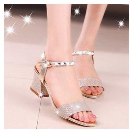 2016  夜店中跟粗跟水鑽 一字扣帶上班涼鞋女鞋