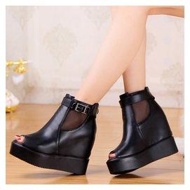 春夏款英倫性感內增高網紗豹紋魚嘴涼鞋坡跟超高跟防水臺涼鞋