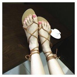 16 夾腳鞋平底真皮鞋交叉綁帶羅馬涼鞋女舒適 沙灘鞋