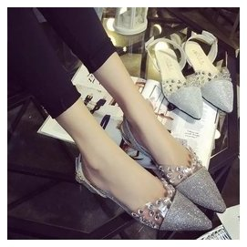 2015夏 透明水晶皮水鑽尖頭粗跟羅馬涼鞋低跟亮片女鞋