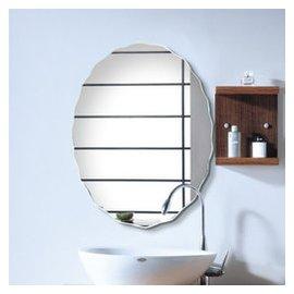 法蘭棋浴室鏡子掛牆衛生間鏡子 無框衛浴鏡洗漱鏡子 洗手台壁掛梳妝鏡子廁所衛生間鏡子 45^