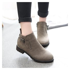 英倫復古小皮鞋學院風短筒女靴子學生低跟圓頭平底短靴女