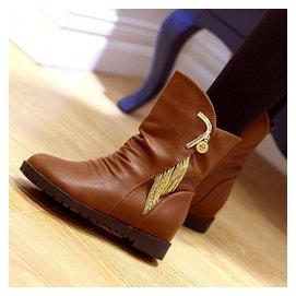 包郵秋鼕 平底短筒女靴子圓頭內增高馬丁靴英倫女鞋低跟短靴