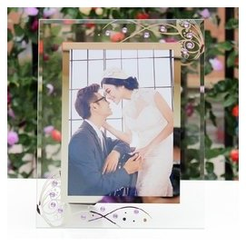 包郵7寸水晶玻璃相框影樓婚紗照擺臺 點鑽像框兒童畫框