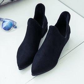 ~超實惠~ 2017春秋單靴短靴女尖頭中跟粗跟英倫馬丁靴裸靴磨砂及踝靴子