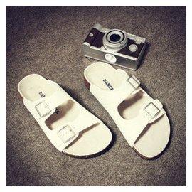 軟木戶外沙灘涼拖鞋簡約 學生青年個搭扣涼拖鞋涼拖鞋大碼沙灘鞋 白色 44
