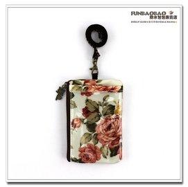 證件套 包包 防水包 雨朵小舖Z~74~403 直立式證件零錢包~白玫瑰之心02199 f