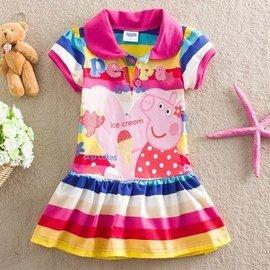 季節小舖~ peppa pig佩佩豬 粉紅豬小妹條紋裙擺草莓佩佩豬款桃紅色裙子 橘色 女童