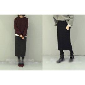 ~5.5871~冬 高腰中長款毛呢半身裙純色百搭包臀裙^( ^)